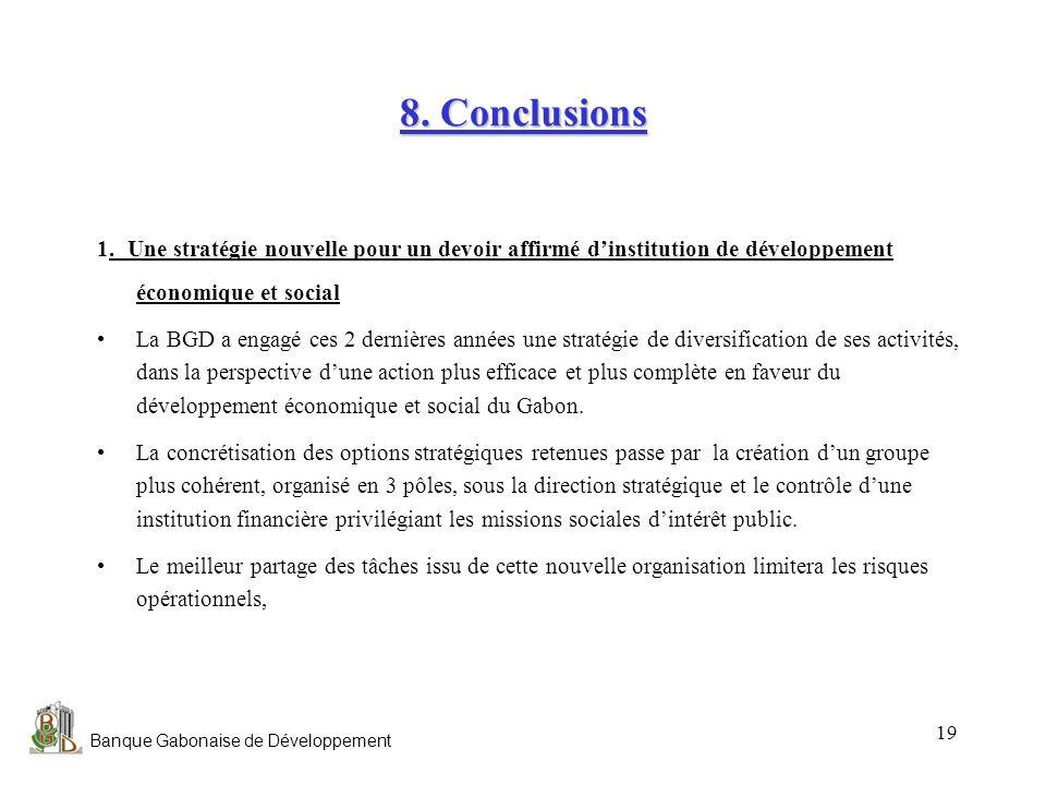 Banque Gabonaise de Développement 19 8. Conclusions 1. Une stratégie nouvelle pour un devoir affirmé dinstitution de développement économique et socia