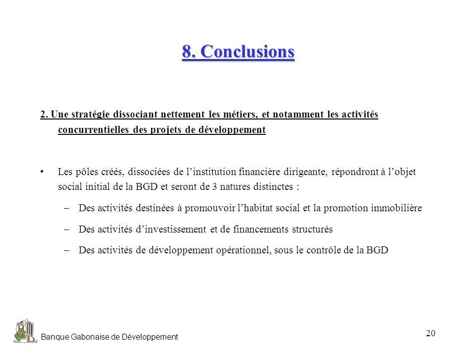 Banque Gabonaise de Développement 20 8. Conclusions 2. Une stratégie dissociant nettement les métiers, et notamment les activités concurrentielles des