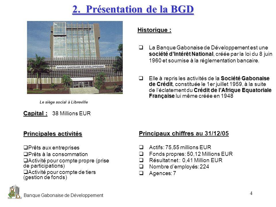 Banque Gabonaise de Développement 4 Principaux chiffres Principaux chiffres au 31/12/05 Actifs: 75,55 millions EUR Fonds propres: 50,12 Millions EUR R