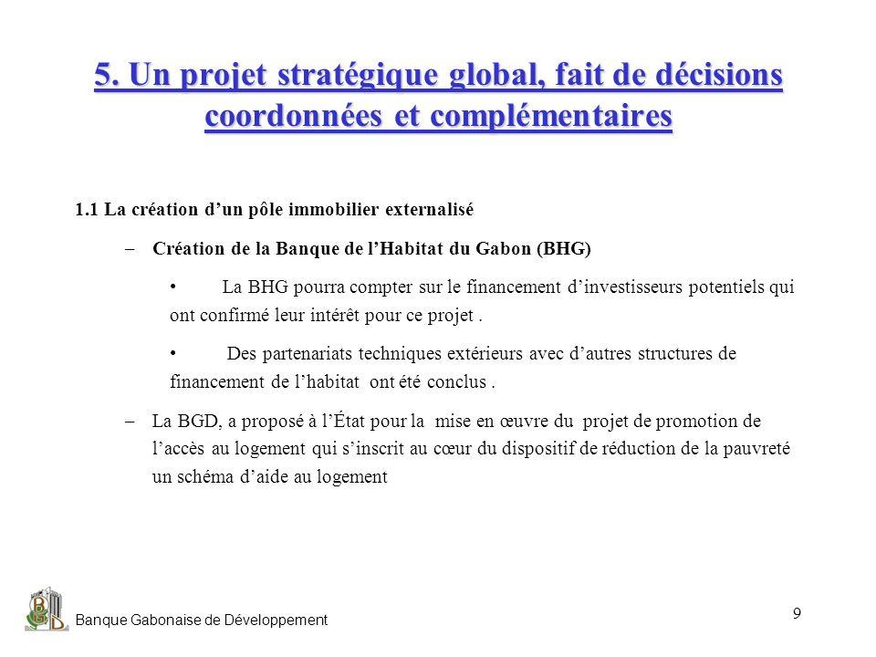 Banque Gabonaise de Développement 9 5. Un projet stratégique global, fait de décisions coordonnées et complémentaires 1.1 La création dun pôle immobil