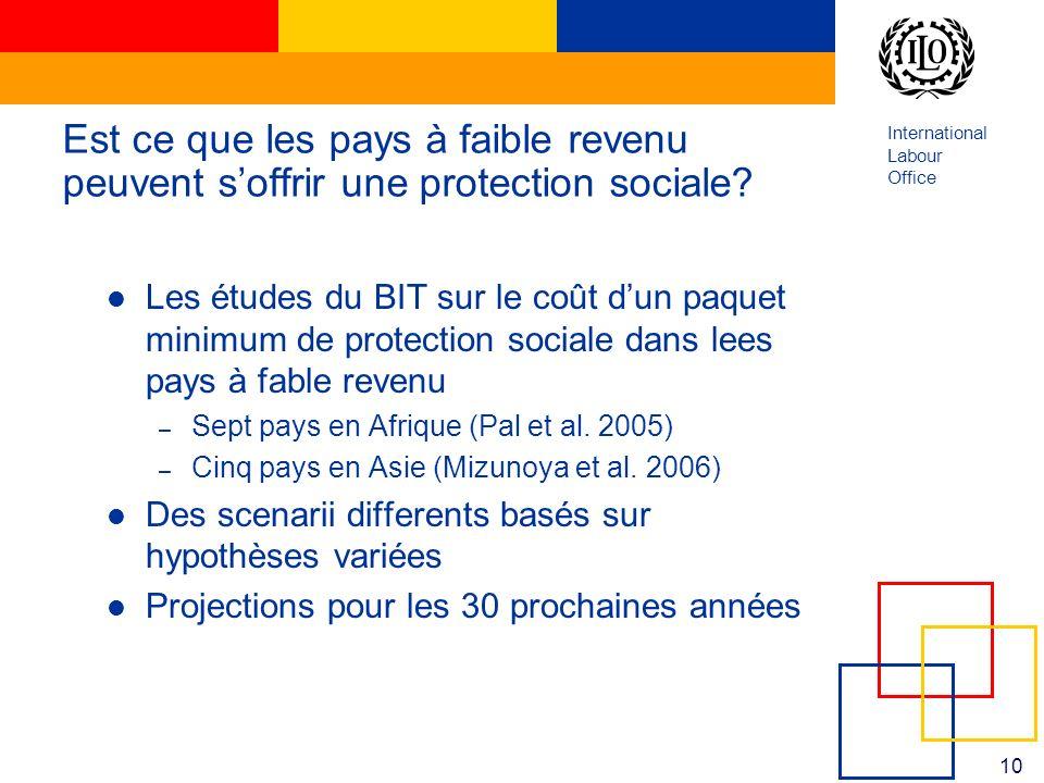 International Labour Office 10 Est ce que les pays à faible revenu peuvent soffrir une protection sociale? Les études du BIT sur le coût dun paquet mi