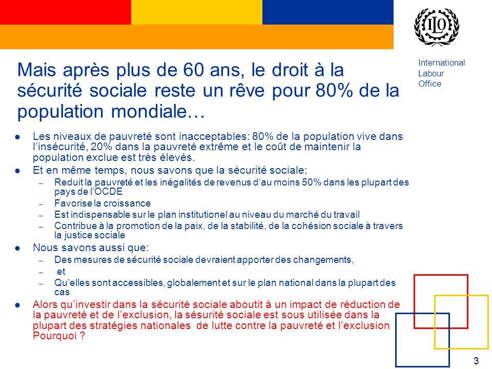 International Labour Office 3 Mais après plus de 60 ans, le droit à la sécurité sociale reste un rêve pour 80% de la population mondiale… Les niveaux