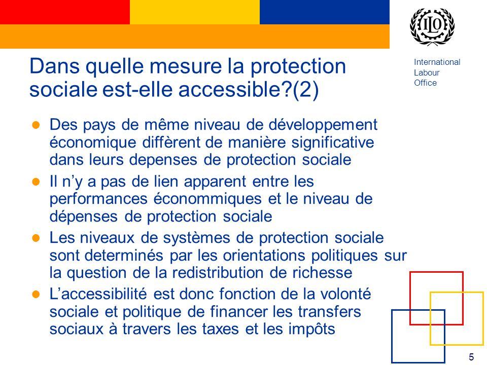 International Labour Office 5 Dans quelle mesure la protection sociale est-elle accessible?(2) Des pays de même niveau de développement économique dif
