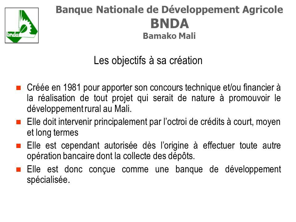 Les objectifs à sa création Créée en 1981 pour apporter son concours technique et/ou financier à la réalisation de tout projet qui serait de nature à promouvoir le développement rural au Mali.