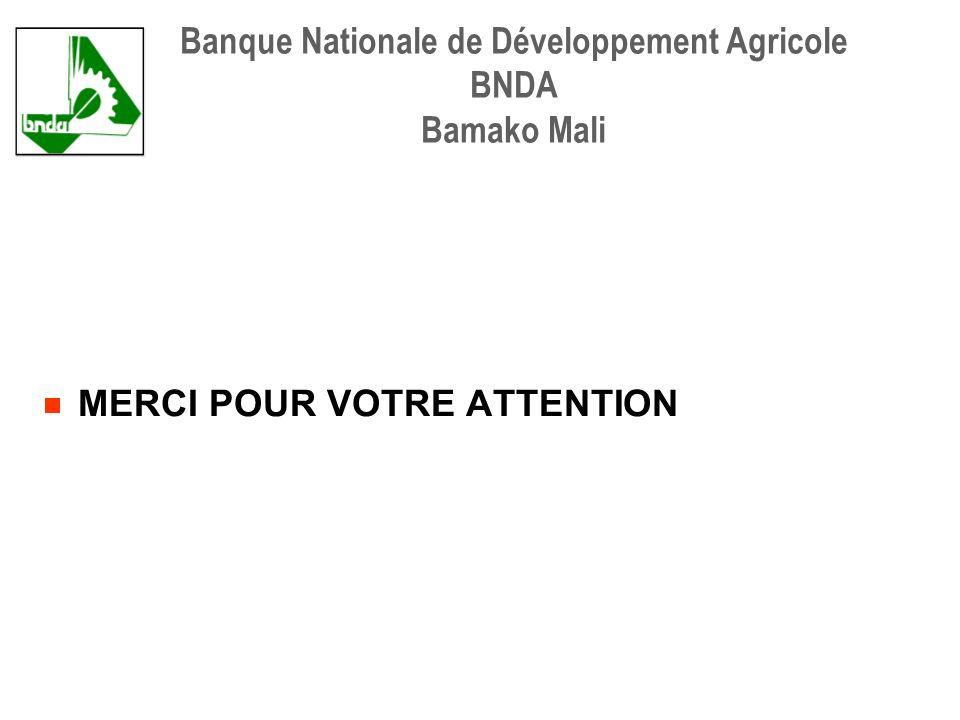 MERCI POUR VOTRE ATTENTION Banque Nationale de Développement Agricole BNDA Bamako Mali