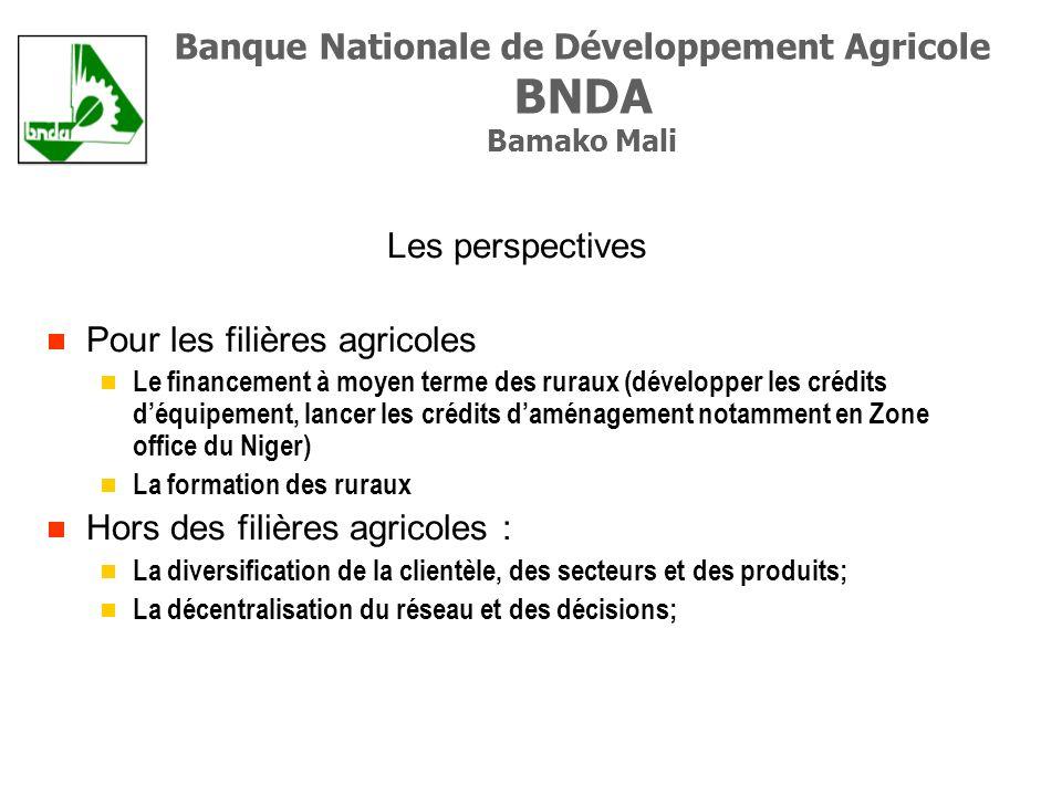 Les perspectives Pour les filières agricoles Le financement à moyen terme des ruraux (développer les crédits déquipement, lancer les crédits daménagement notamment en Zone office du Niger) La formation des ruraux Hors des filières agricoles : La diversification de la clientèle, des secteurs et des produits; La décentralisation du réseau et des décisions; Banque Nationale de Développement Agricole BNDA Bamako Mali