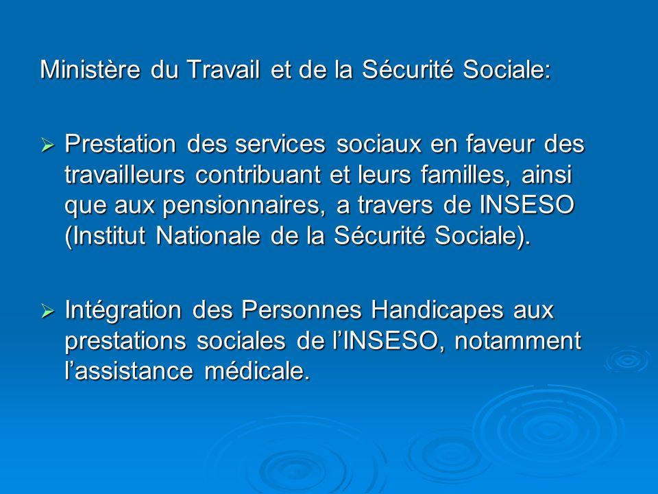 Ministère du Travail et de la Sécurité Sociale: Prestation des services sociaux en faveur des travailleurs contribuant et leurs familles, ainsi que aux pensionnaires, a travers de INSESO (Institut Nationale de la Sécurité Sociale).