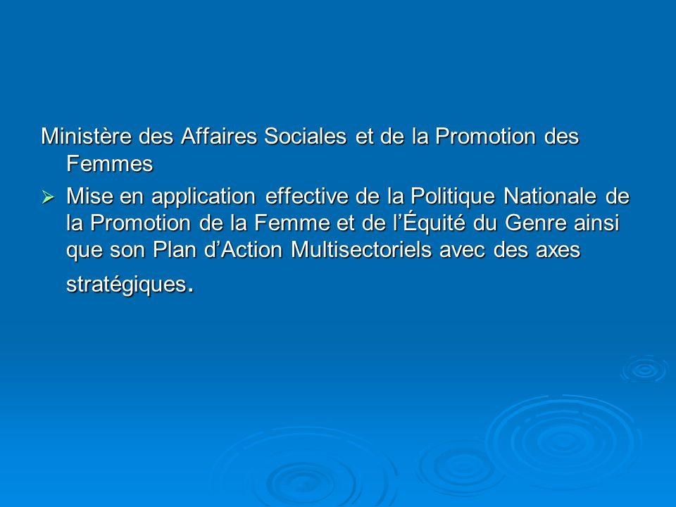 Ministère des Affaires Sociales et de la Promotion des Femmes Mise en application effective de la Politique Nationale de la Promotion de la Femme et de lÉquité du Genre ainsi que son Plan dAction Multisectoriels avec des axes stratégiques.