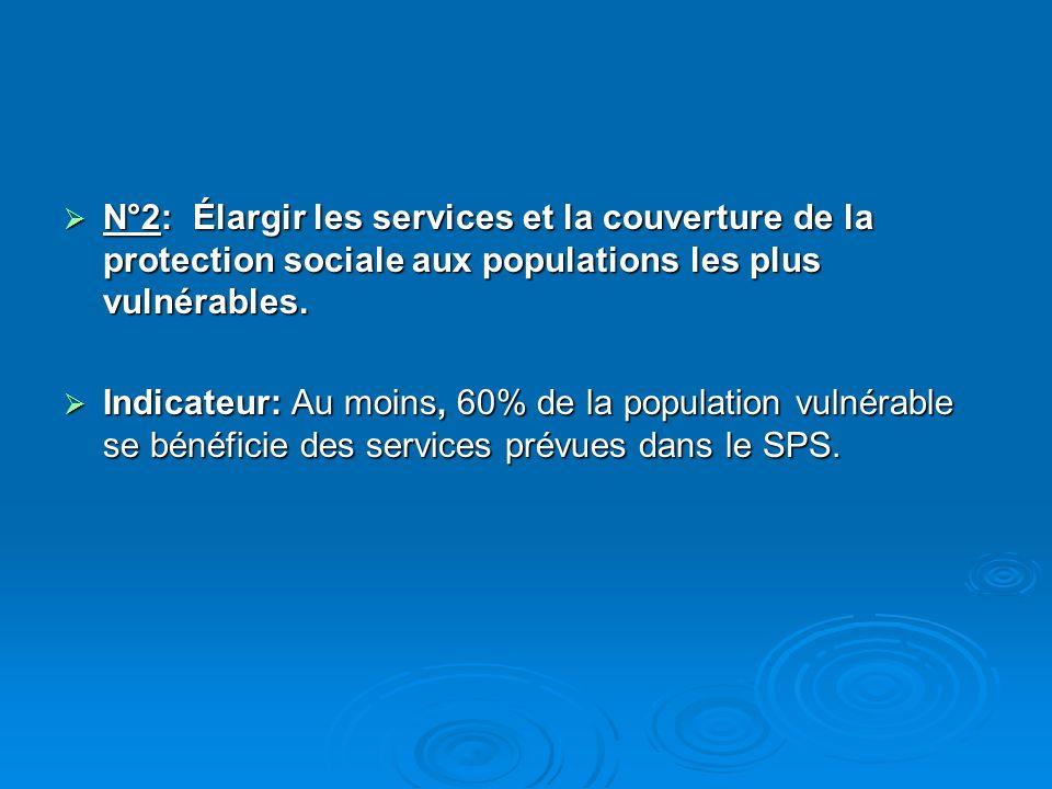 N°2: Élargir les services et la couverture de la protection sociale aux populations les plus vulnérables.