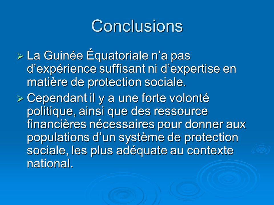 Conclusions La Guinée Équatoriale na pas dexpérience suffisant ni dexpertise en matière de protection sociale.