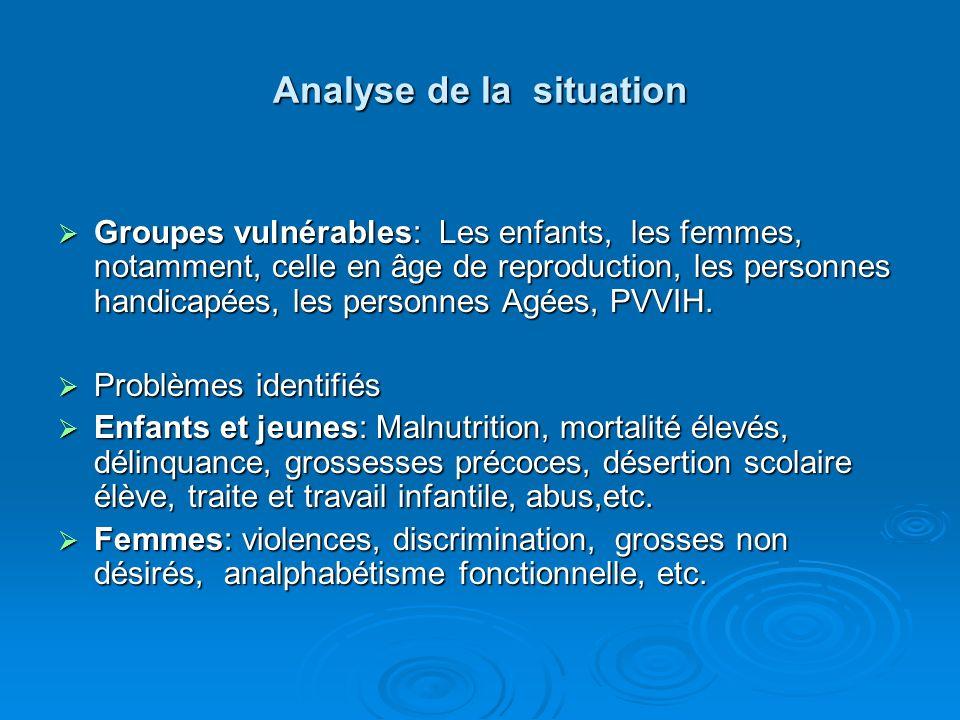 Analyse de la situation Groupes vulnérables: Les enfants, les femmes, notamment, celle en âge de reproduction, les personnes handicapées, les personnes Agées, PVVIH.