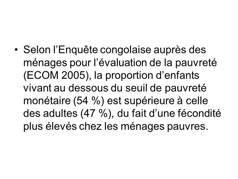 Selon lEnquête congolaise auprès des ménages pour lévaluation de la pauvreté (ECOM 2005), la proportion denfants vivant au dessous du seuil de pauvret