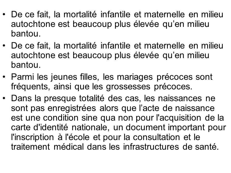 De ce fait, la mortalité infantile et maternelle en milieu autochtone est beaucoup plus élevée quen milieu bantou. Parmi les jeunes filles, les mariag