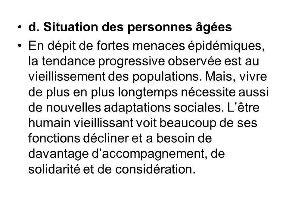 d. Situation des personnes âgées En dépit de fortes menaces épidémiques, la tendance progressive observée est au vieillissement des populations. Mais,