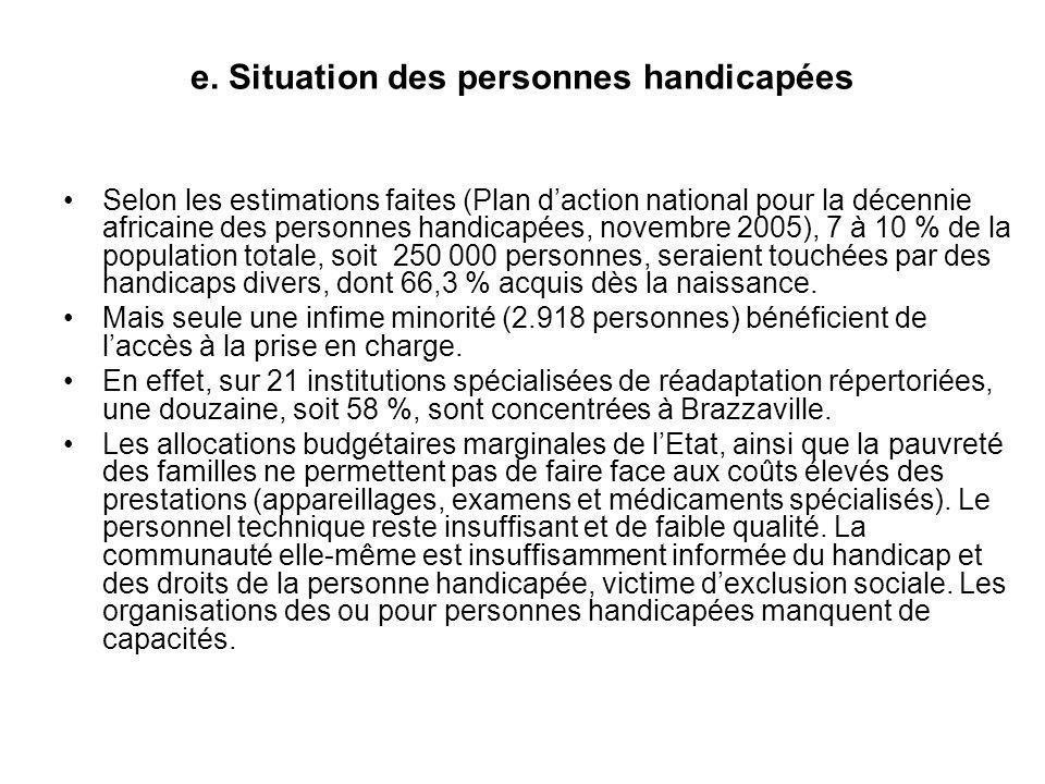 e. Situation des personnes handicapées Selon les estimations faites (Plan daction national pour la décennie africaine des personnes handicapées, novem