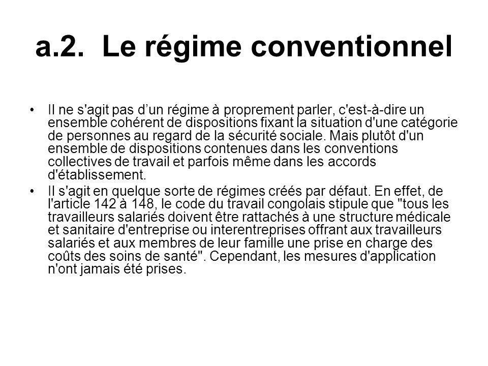 a.2. Le régime conventionnel Il ne s'agit pas dun régime à proprement parler, c'est-à-dire un ensemble cohérent de dispositions fixant la situation d'