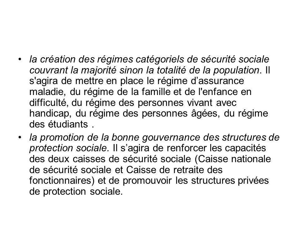 la création des régimes catégoriels de sécurité sociale couvrant la majorité sinon la totalité de la population. Il s'agira de mettre en place le régi