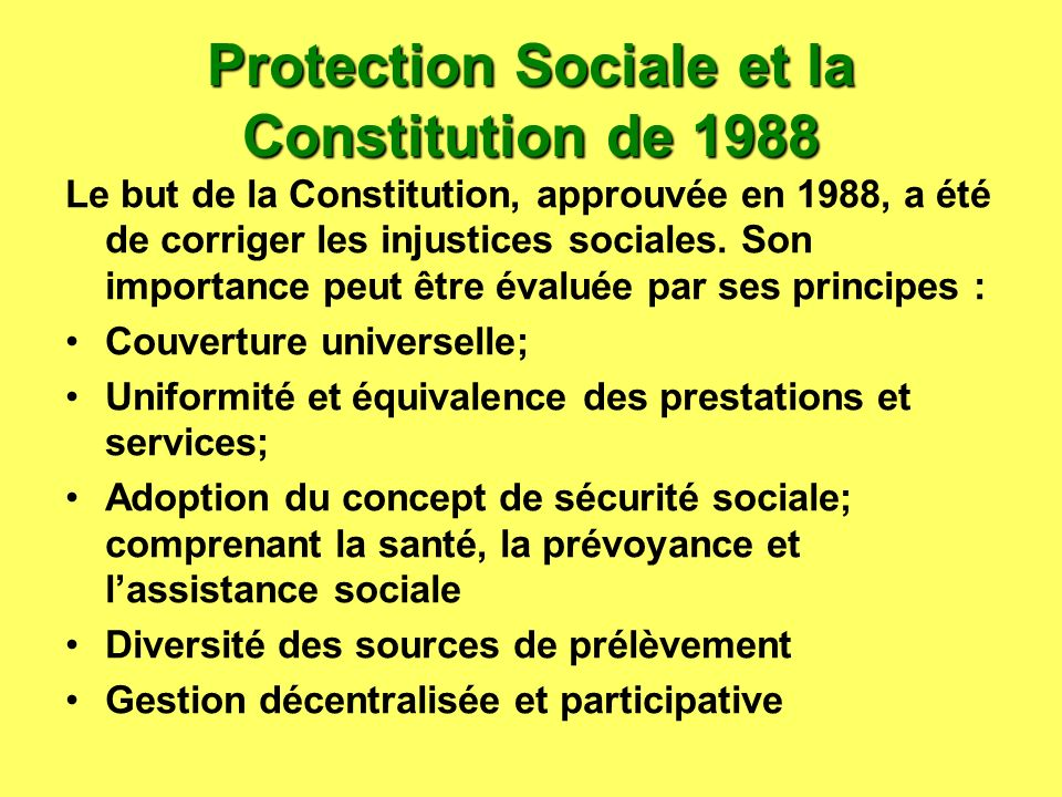Protection Sociale et la Constitution de 1988 Le but de la Constitution, approuvée en 1988, a été de corriger les injustices sociales. Son importance