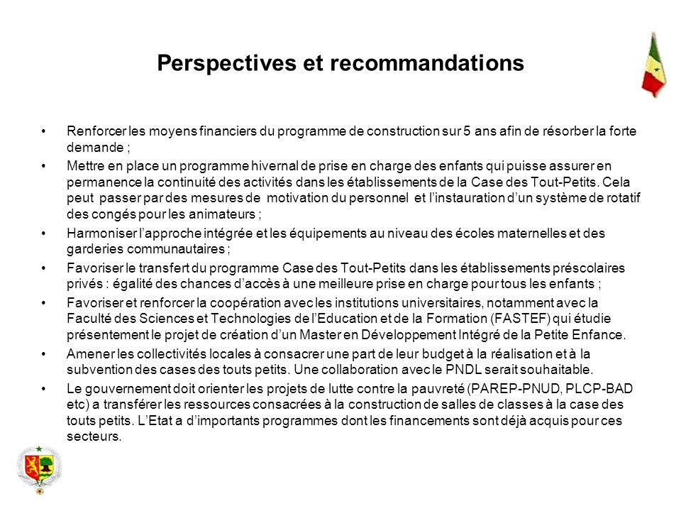 Perspectives et recommandations Renforcer les moyens financiers du programme de construction sur 5 ans afin de résorber la forte demande ; Mettre en p