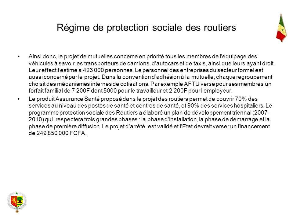 Régime de protection sociale des routiers Ainsi donc, le projet de mutuelles concerne en priorité tous les membres de léquipage des véhicules à savoir