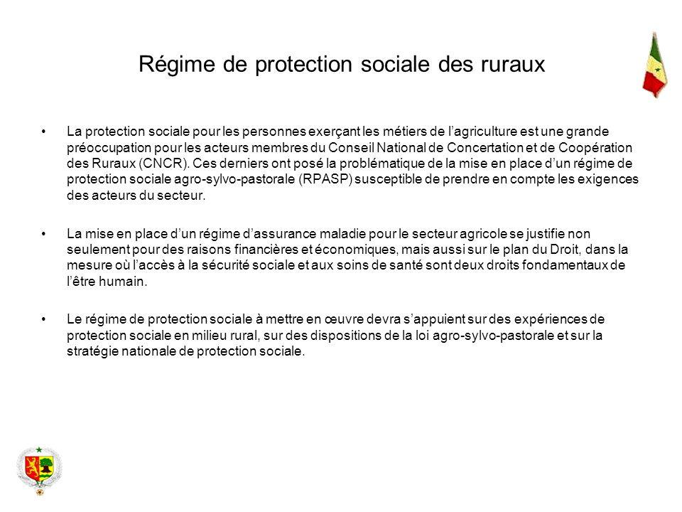 Régime de protection sociale des ruraux La protection sociale pour les personnes exerçant les métiers de lagriculture est une grande préoccupation pou
