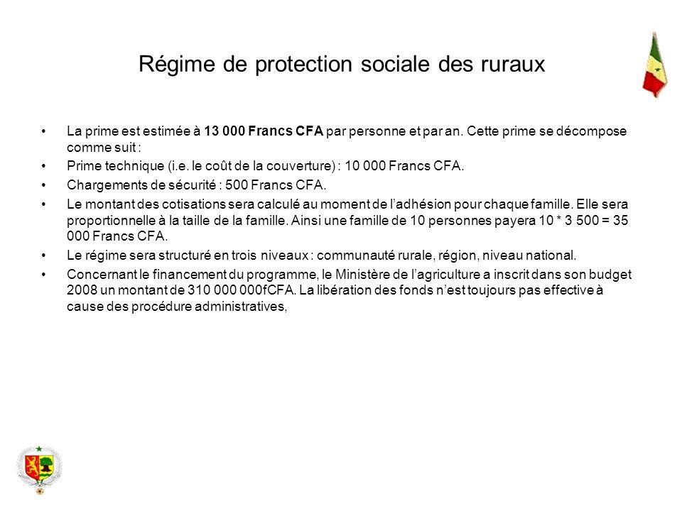 Régime de protection sociale des ruraux La prime est estimée à 13 000 Francs CFA par personne et par an. Cette prime se décompose comme suit : Prime t