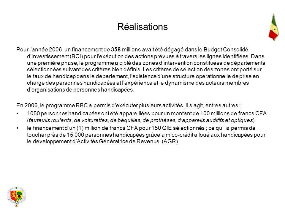 Réalisations Pour lannée 2006, un financement de 358 millions avait été dégagé dans le Budget Consolidé dInvestissement (BCI) pour lexécution des acti