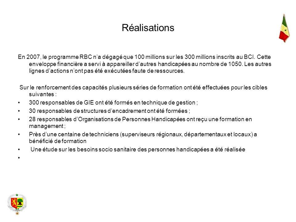 Réalisations En 2007, le programme RBC na dégagé que 100 millions sur les 300 millions inscrits au BCI. Cette enveloppe financière a servi à appareill