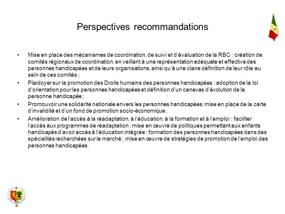 Perspectives recommandations Mise en place des mécanismes de coordination, de suivi et dévaluation de la RBC : création de comités régionaux de coordi