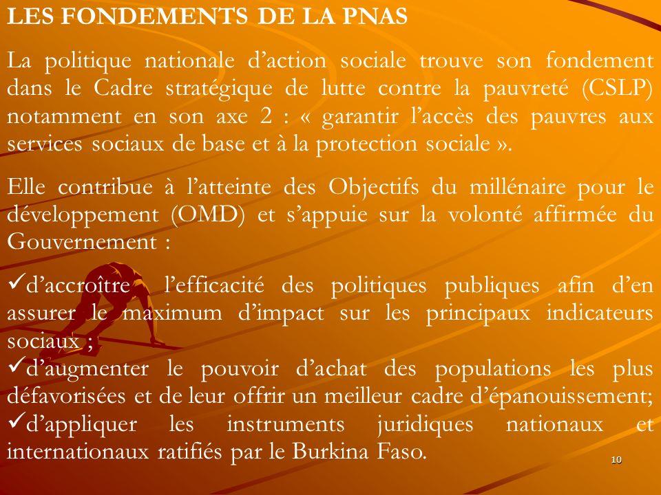 10 LES FONDEMENTS DE LA PNAS La politique nationale daction sociale trouve son fondement dans le Cadre stratégique de lutte contre la pauvreté (CSLP)