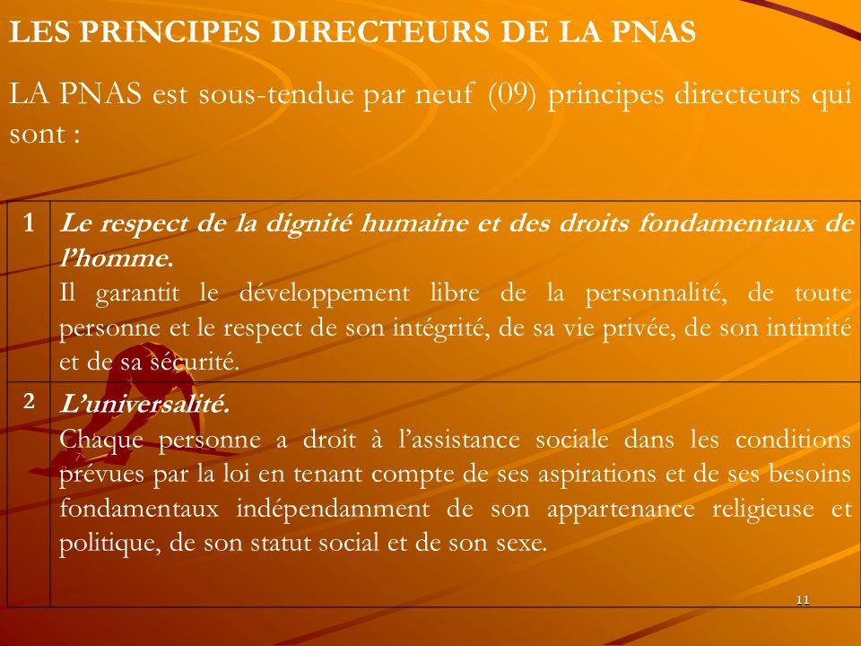 11 LES PRINCIPES DIRECTEURS DE LA PNAS LA PNAS est sous-tendue par neuf (09) principes directeurs qui sont : 1Le respect de la dignité humaine et des