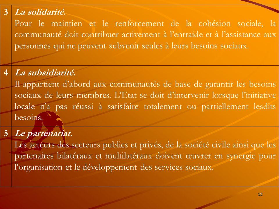 12 3La solidarité. Pour le maintien et le renforcement de la cohésion sociale, la communauté doit contribuer activement à lentraide et à lassistance a