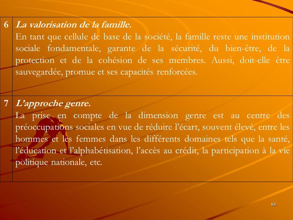 13 6La valorisation de la famille. En tant que cellule de base de la société, la famille reste une institution sociale fondamentale, garante de la séc