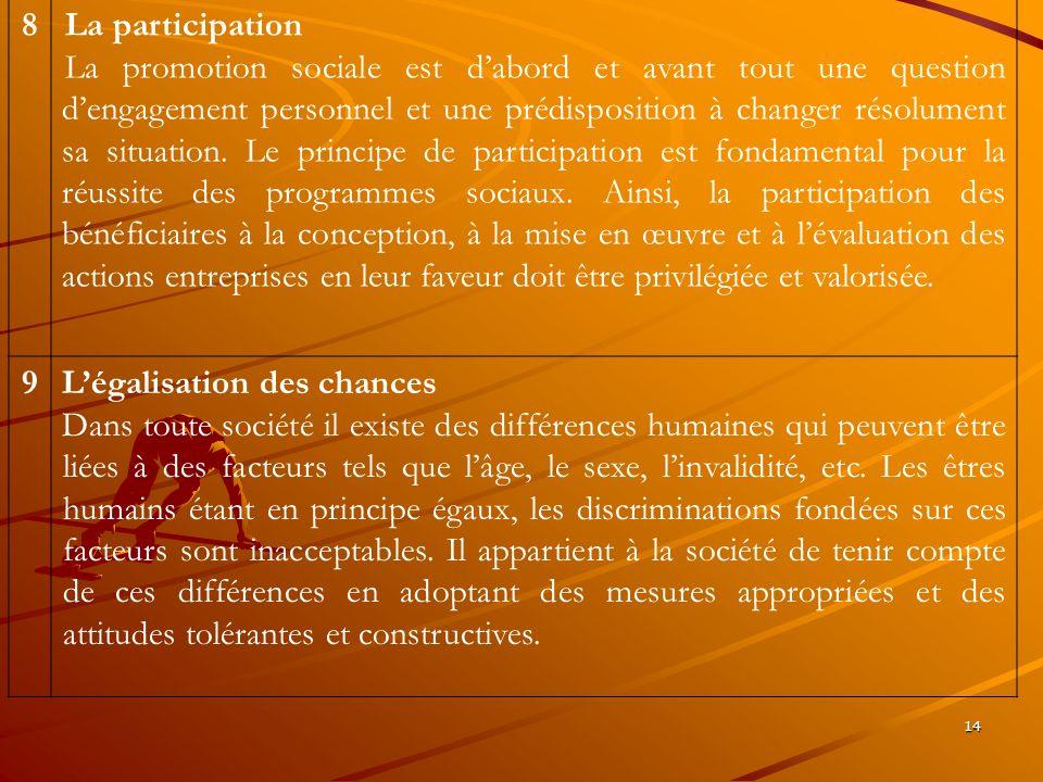 14 8La participation La promotion sociale est dabord et avant tout une question dengagement personnel et une prédisposition à changer résolument sa si