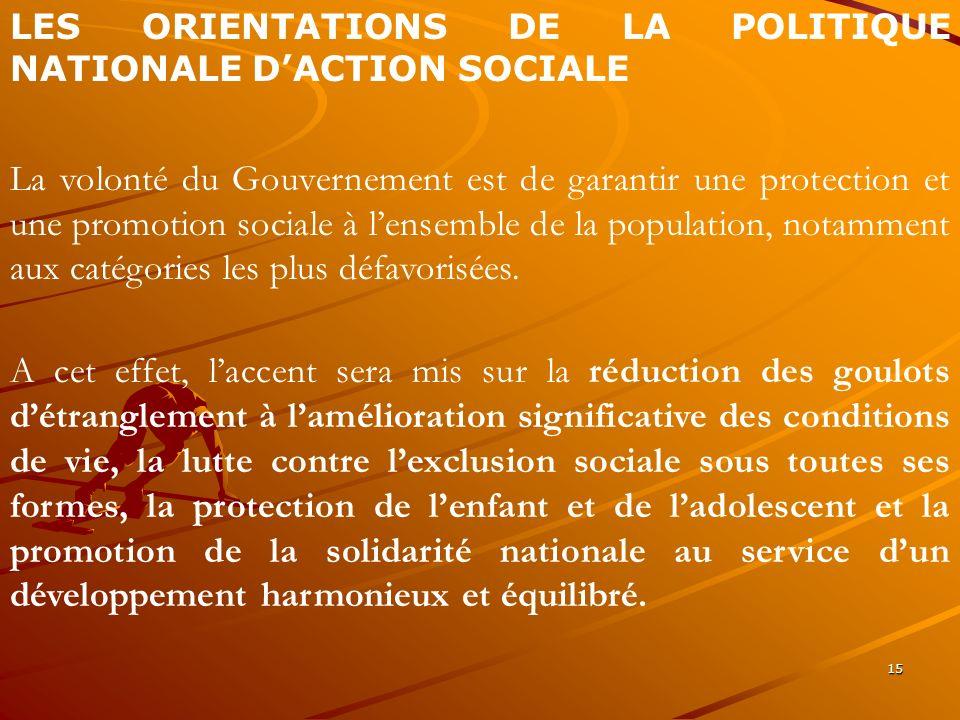 15 LES ORIENTATIONS DE LA POLITIQUE NATIONALE DACTION SOCIALE La volonté du Gouvernement est de garantir une protection et une promotion sociale à len