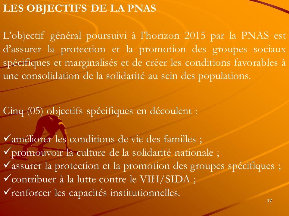 17 LES OBJECTIFS DE LA PNAS Lobjectif général poursuivi à lhorizon 2015 par la PNAS est dassurer la protection et la promotion des groupes sociaux spé