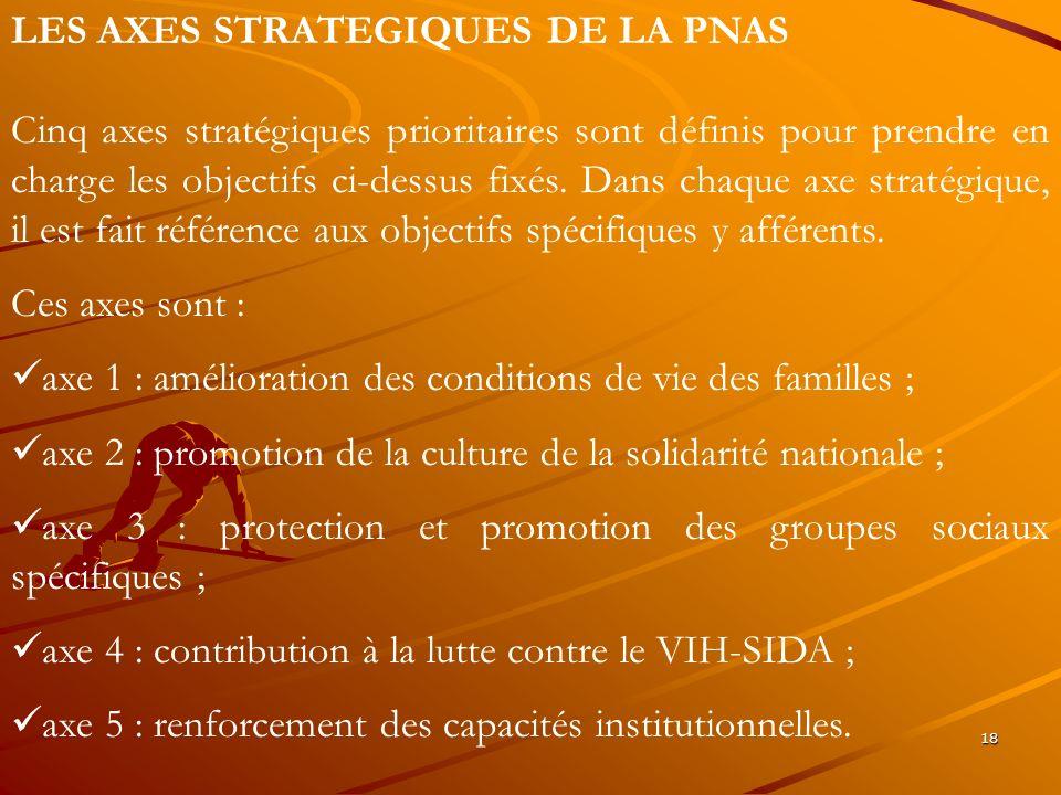 18 LES AXES STRATEGIQUES DE LA PNAS Cinq axes stratégiques prioritaires sont définis pour prendre en charge les objectifs ci-dessus fixés. Dans chaque