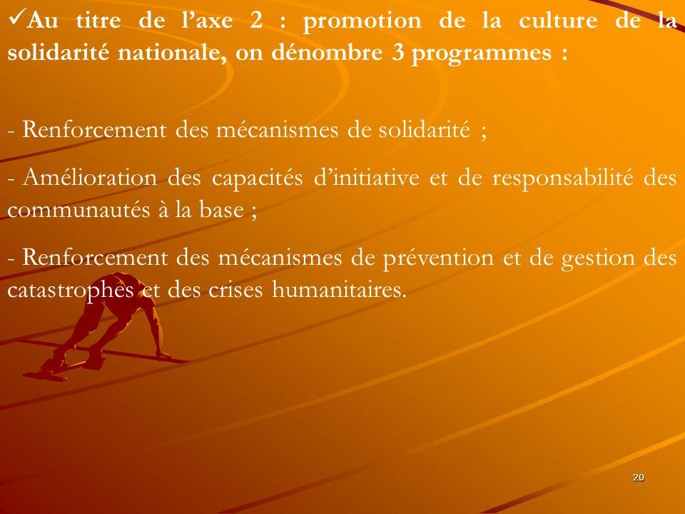 20 Au titre de laxe 2 : promotion de la culture de la solidarité nationale, on dénombre 3 programmes : - Renforcement des mécanismes de solidarité ; -