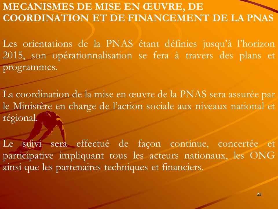 23 MECANISMES DE MISE EN ŒUVRE, DE COORDINATION ET DE FINANCEMENT DE LA PNAS Les orientations de la PNAS étant définies jusquà lhorizon 2015, son opér