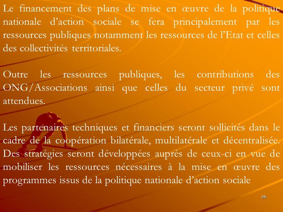 25 Le financement des plans de mise en œuvre de la politique nationale daction sociale se fera principalement par les ressources publiques notamment l