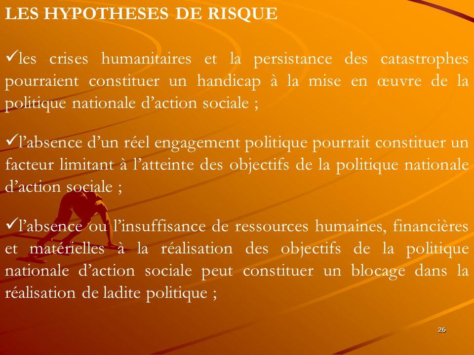 26 LES HYPOTHESES DE RISQUE les crises humanitaires et la persistance des catastrophes pourraient constituer un handicap à la mise en œuvre de la poli