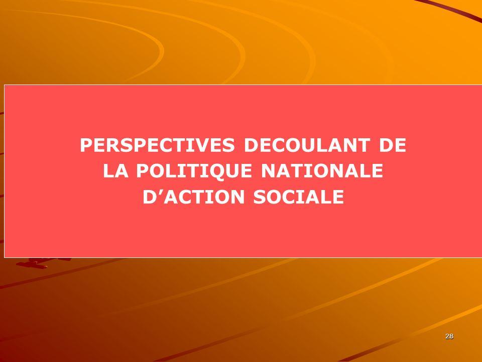 28 PERSPECTIVES DECOULANT DE LA POLITIQUE NATIONALE DACTION SOCIALE