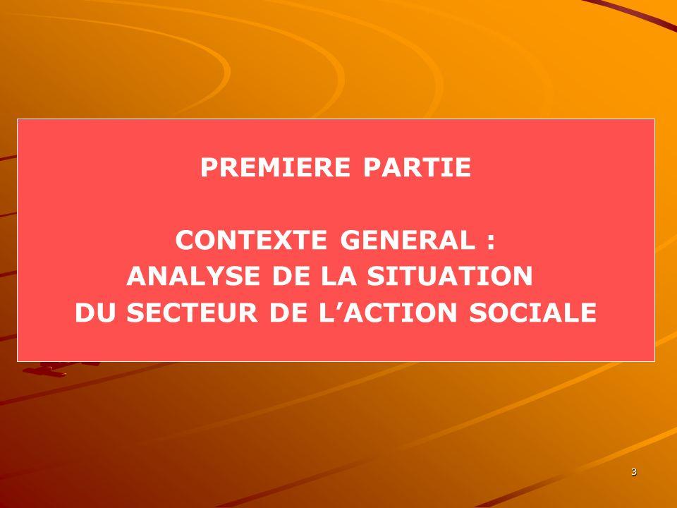3 PREMIERE PARTIE CONTEXTE GENERAL : ANALYSE DE LA SITUATION DU SECTEUR DE LACTION SOCIALE