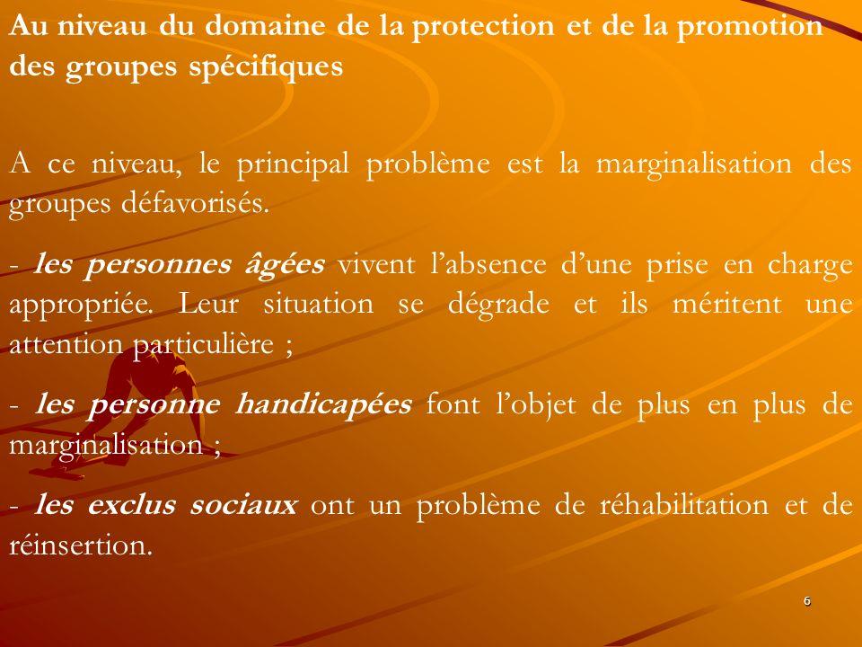 6 Au niveau du domaine de la protection et de la promotion des groupes spécifiques A ce niveau, le principal problème est la marginalisation des group