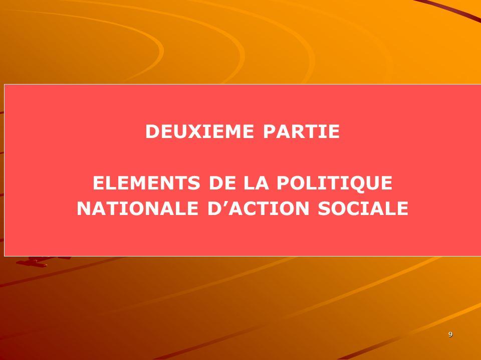 9 DEUXIEME PARTIE ELEMENTS DE LA POLITIQUE NATIONALE DACTION SOCIALE