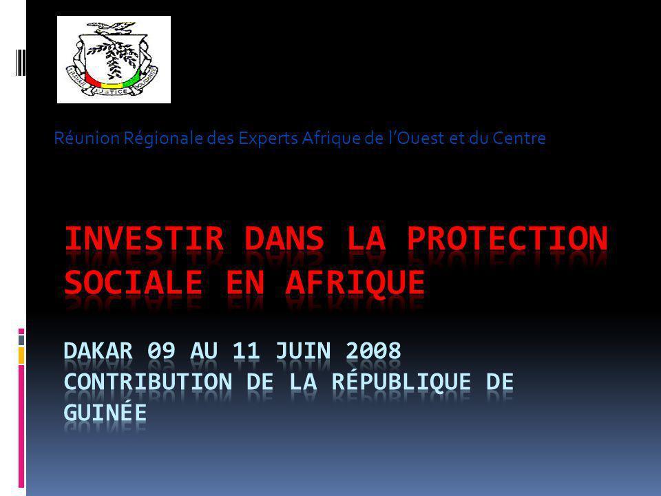Réunion Régionale des Experts Afrique de lOuest et du Centre