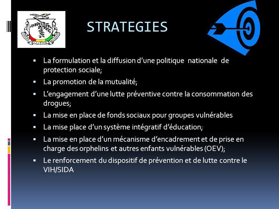 STRATEGIES La formulation et la diffusion dune politique nationale de protection sociale; La promotion de la mutualité; Lengagement dune lutte prévent