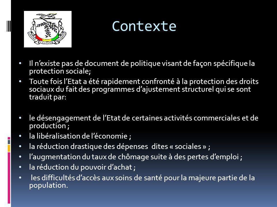 Contexte Il nexiste pas de document de politique visant de façon spécifique la protection sociale; Toute fois lEtat a été rapidement confronté à la pr