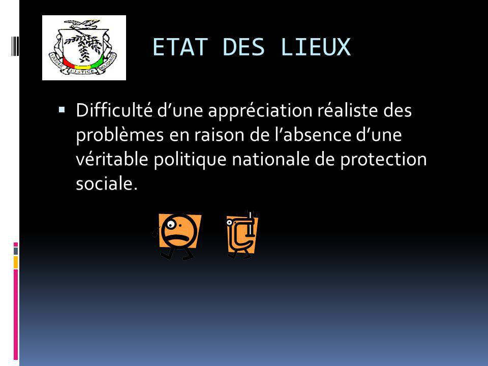 ETAT DES LIEUX Difficulté dune appréciation réaliste des problèmes en raison de labsence dune véritable politique nationale de protection sociale.