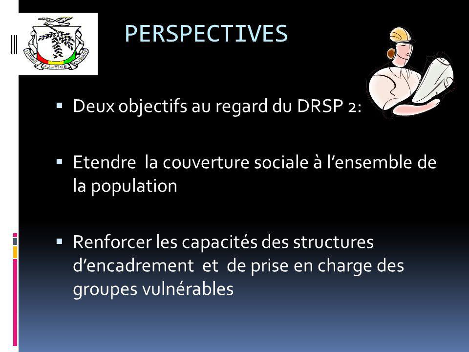 PERSPECTIVES Deux objectifs au regard du DRSP 2: Etendre la couverture sociale à lensemble de la population Renforcer les capacités des structures dencadrement et de prise en charge des groupes vulnérables